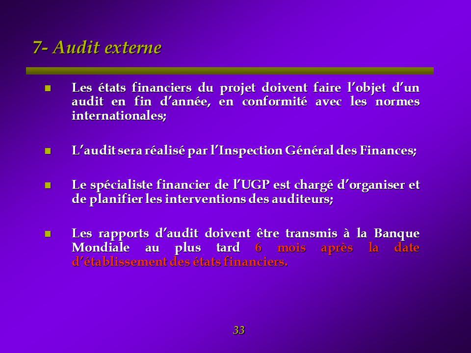 7- Audit externe Les états financiers du projet doivent faire l'objet d'un audit en fin d'année, en conformité avec les normes internationales;