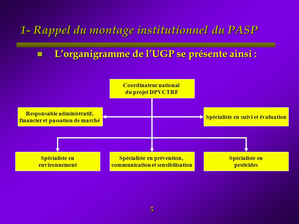 1- Rappel du montage institutionnel du PASP
