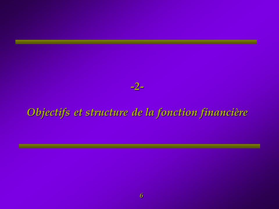 -2- Objectifs et structure de la fonction financière