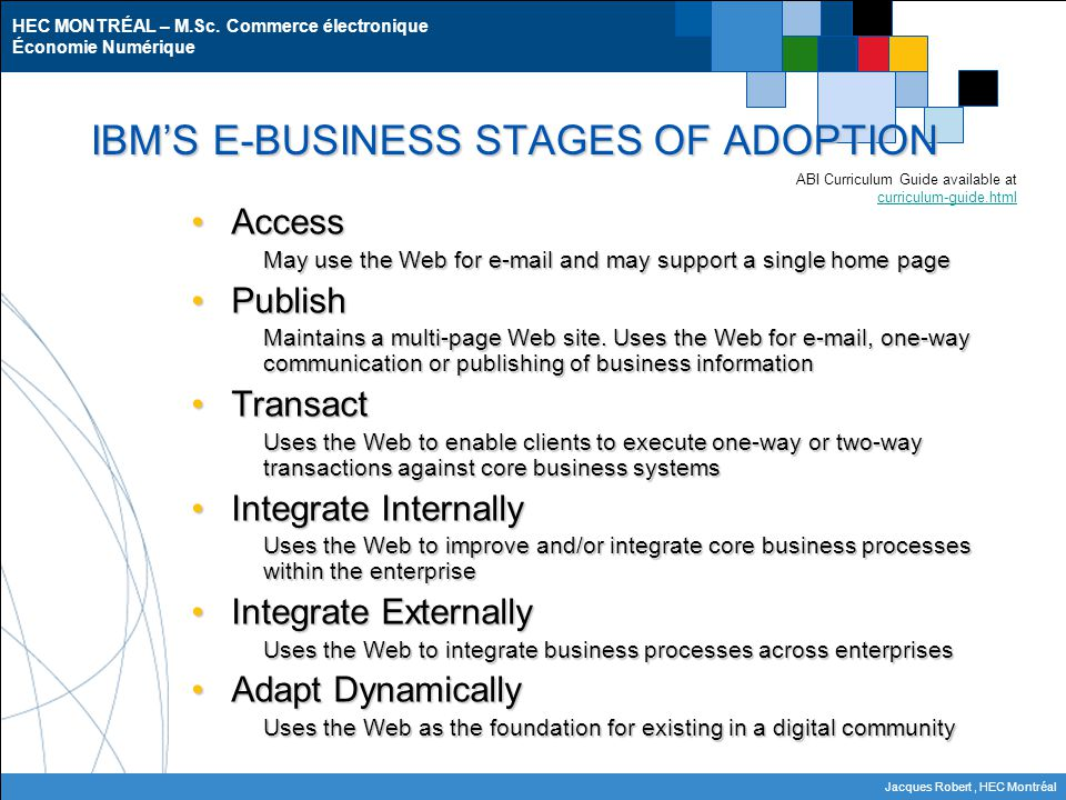 IBM'S E-BUSINESS STAGES OF ADOPTION