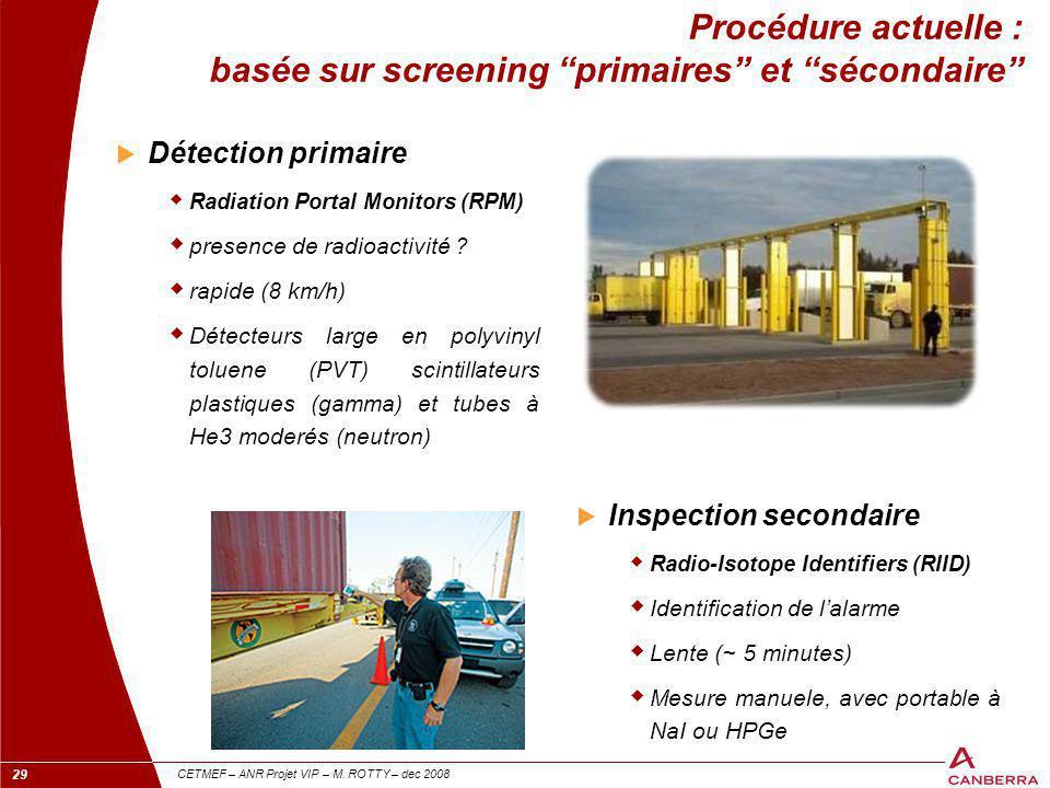 Procédure actuelle : basée sur screening primaires et sécondaire