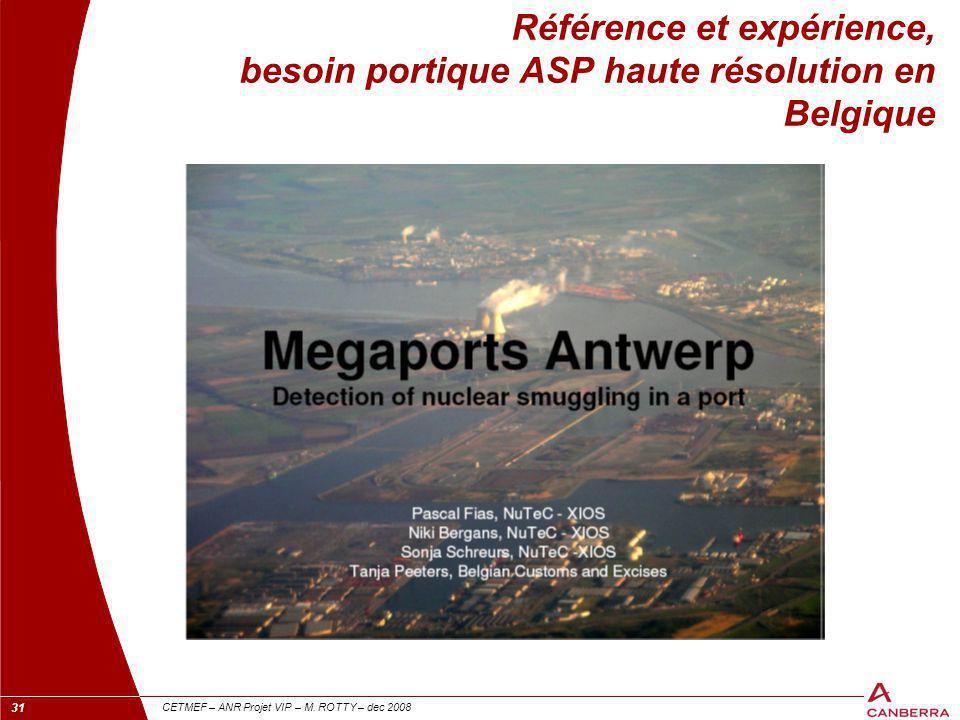 Référence et expérience, besoin portique ASP haute résolution en Belgique