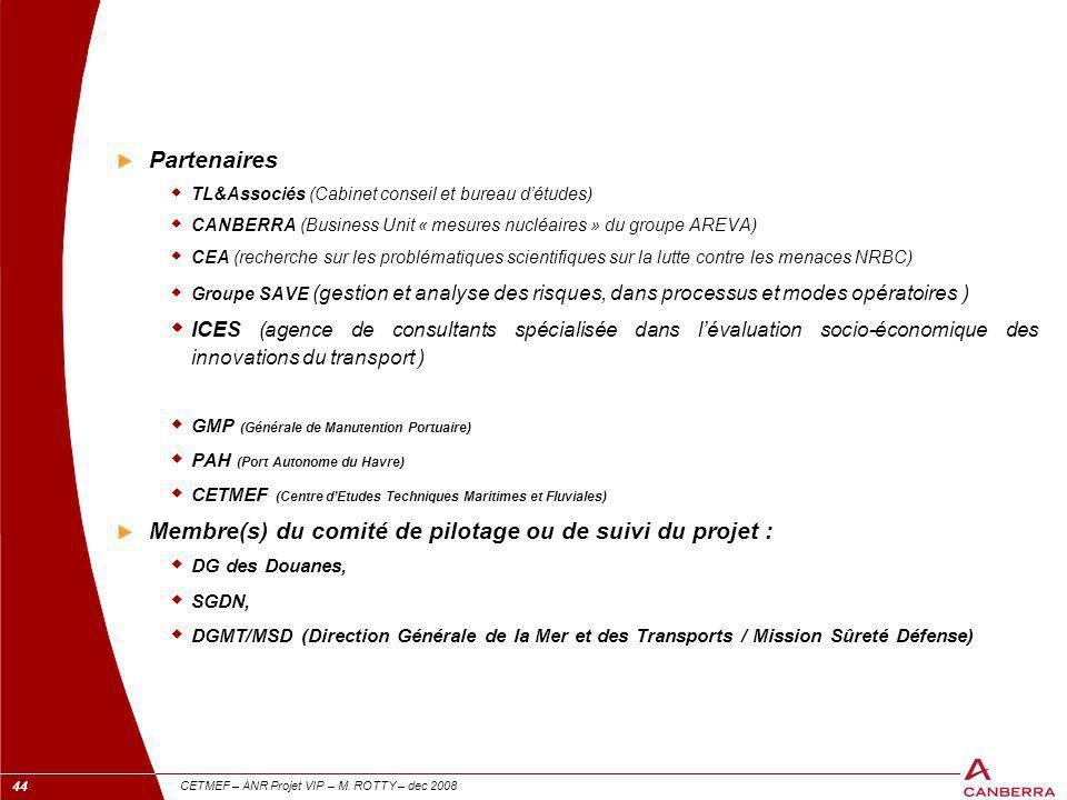 Membre(s) du comité de pilotage ou de suivi du projet :