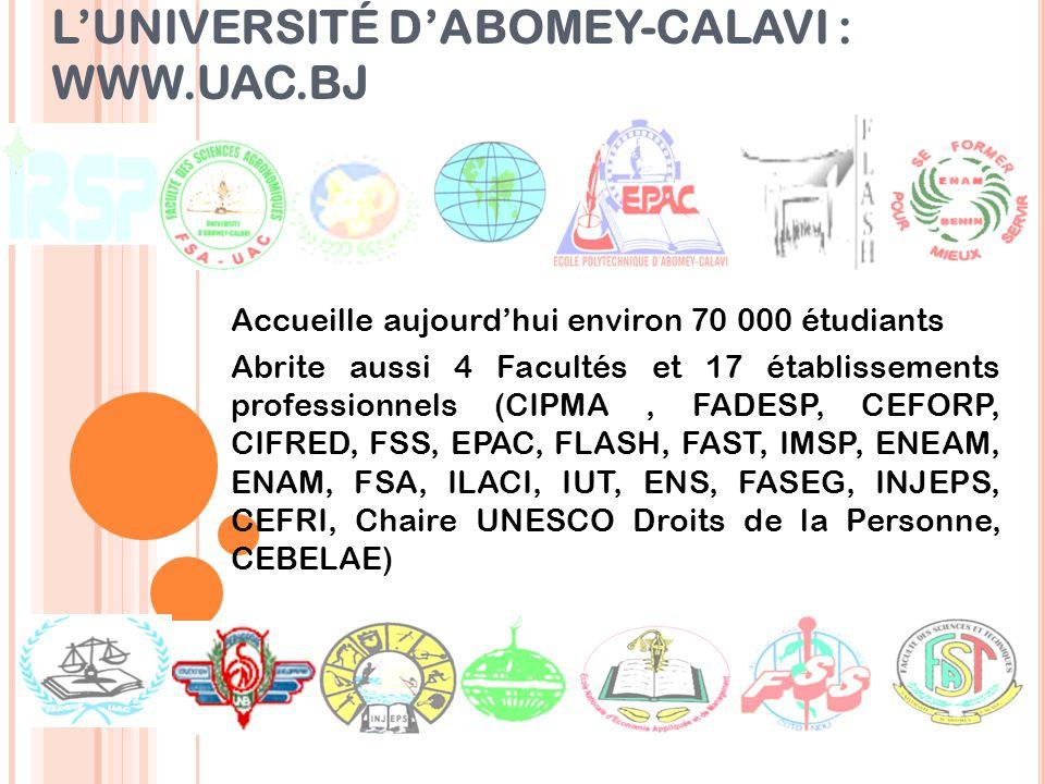 L'UNIVERSITÉ D'ABOMEY-CALAVI : WWW.UAC.BJ
