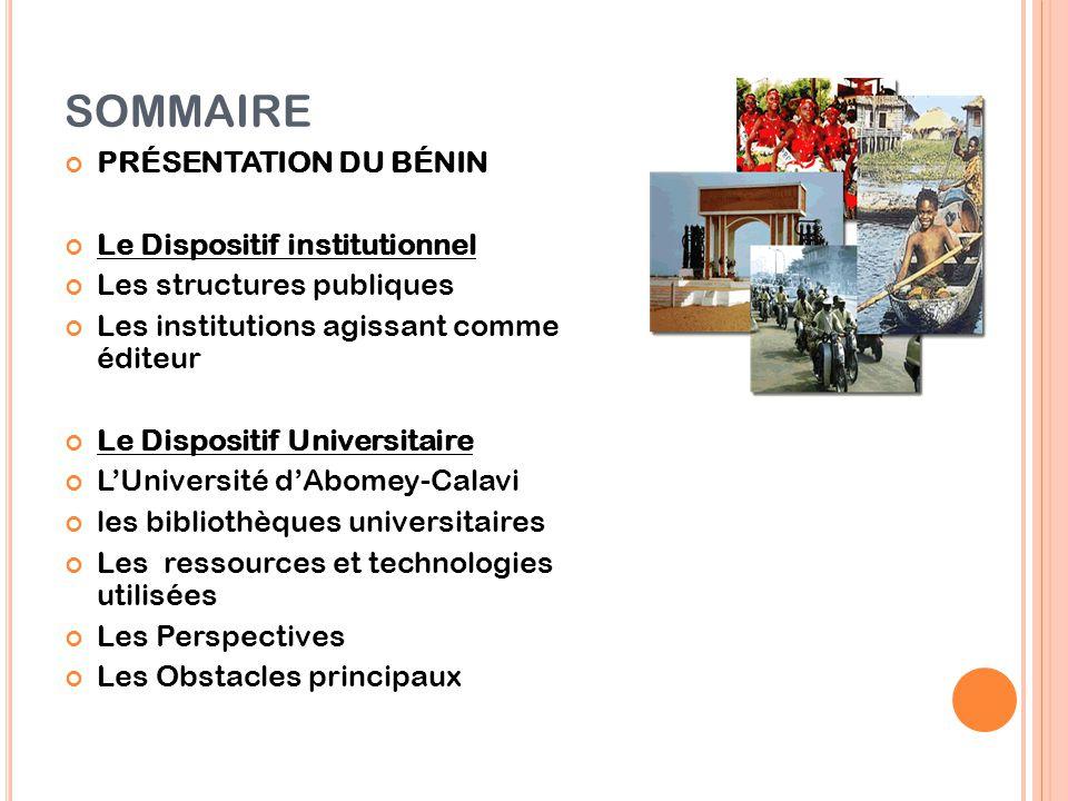 SOMMAIRE PRÉSENTATION DU BÉNIN Le Dispositif institutionnel