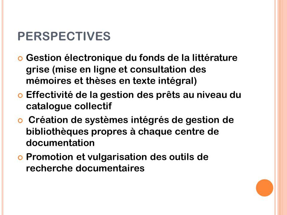 PERSPECTIVES Gestion électronique du fonds de la littérature grise (mise en ligne et consultation des mémoires et thèses en texte intégral)