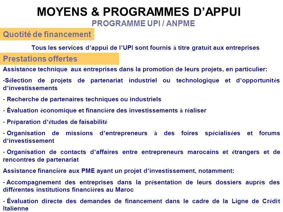 MOYENS & PROGRAMMES D'APPUI