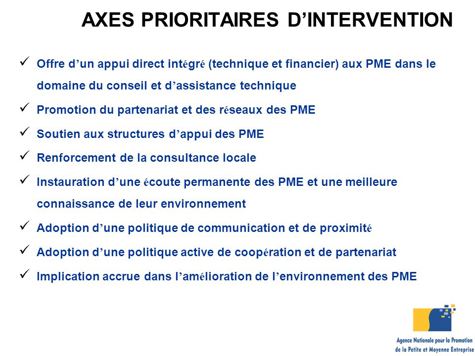 AXES PRIORITAIRES D'INTERVENTION