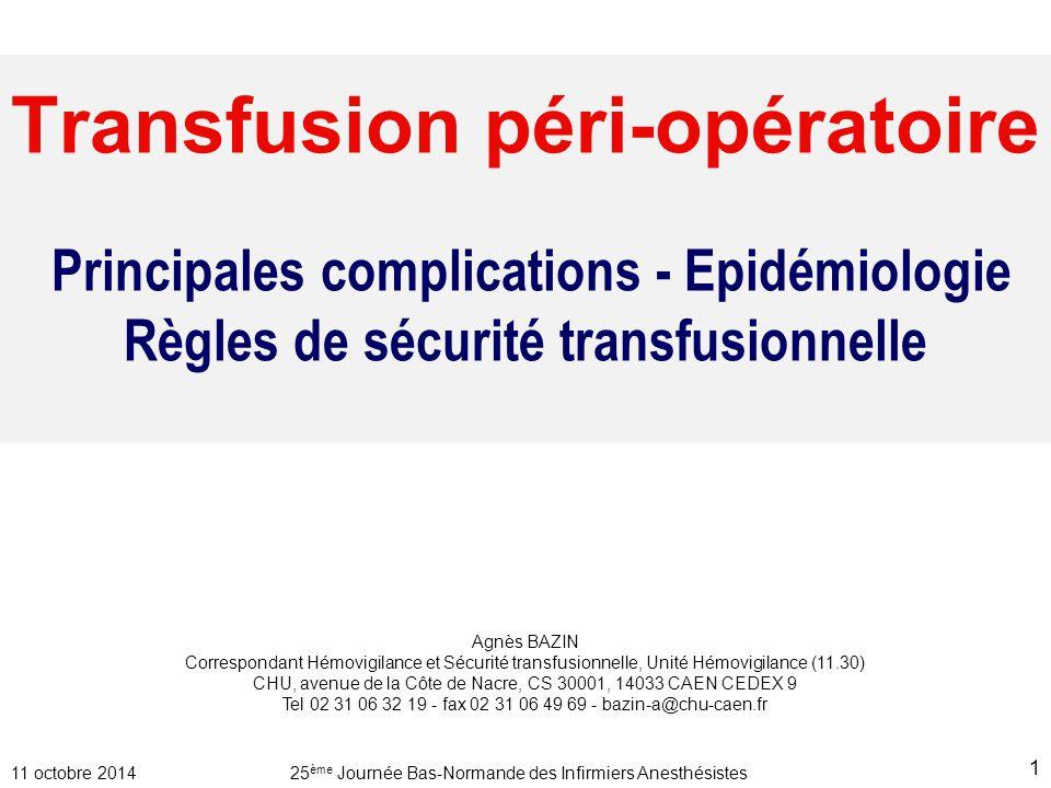 Transfusion péri-opératoire Principales complications - Epidémiologie Règles de sécurité transfusionnelle