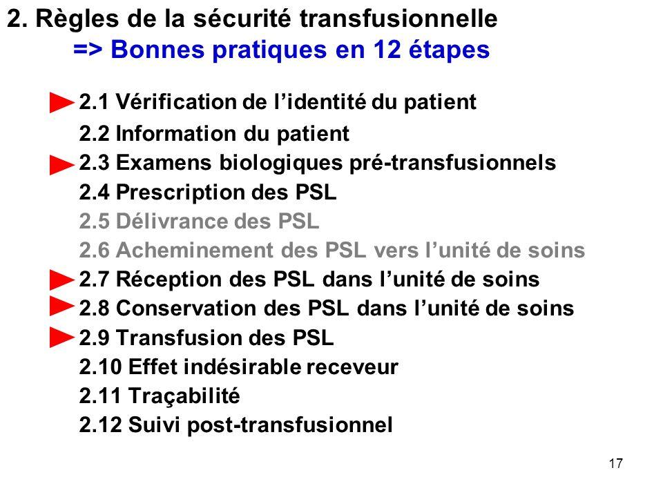2. Règles de la sécurité transfusionnelle