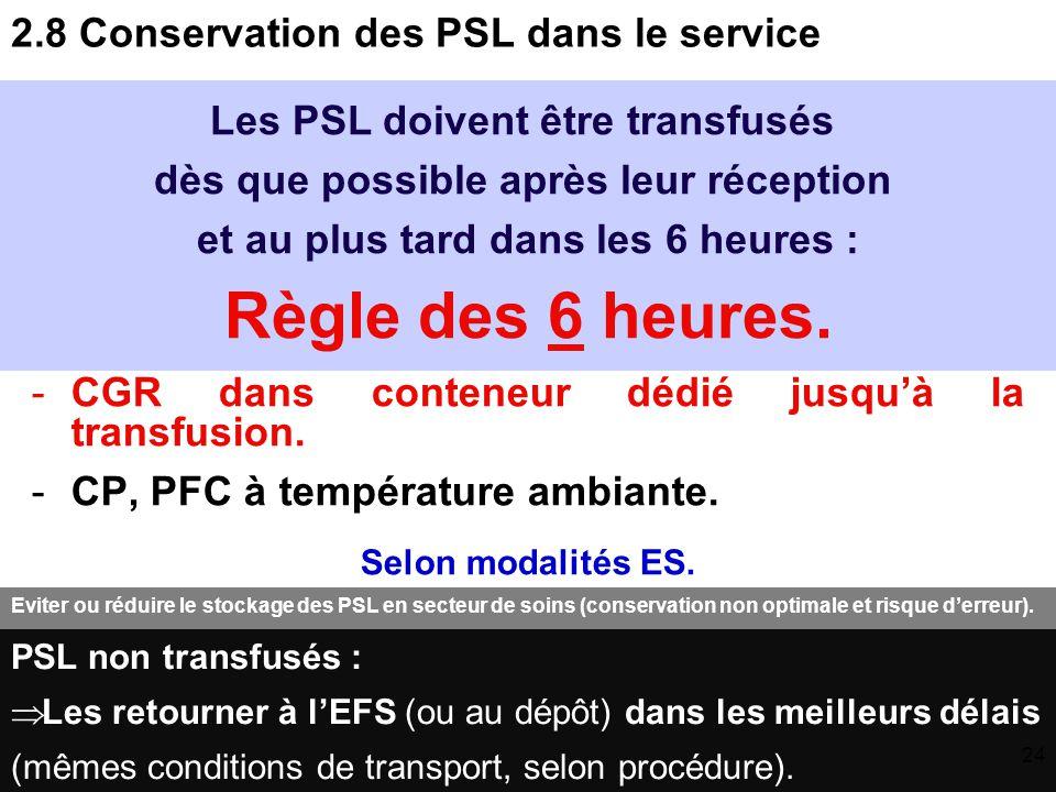 2.8 Conservation des PSL dans le service