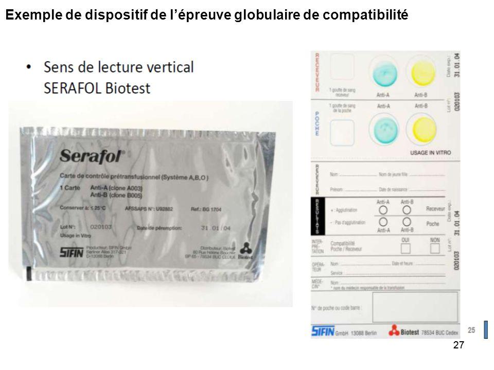 Exemple de dispositif de l'épreuve globulaire de compatibilité