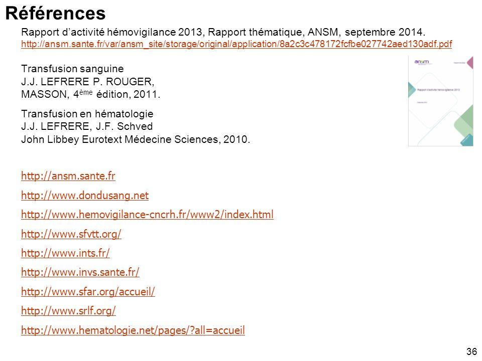 Références Rapport d'activité hémovigilance 2013, Rapport thématique, ANSM, septembre 2014.