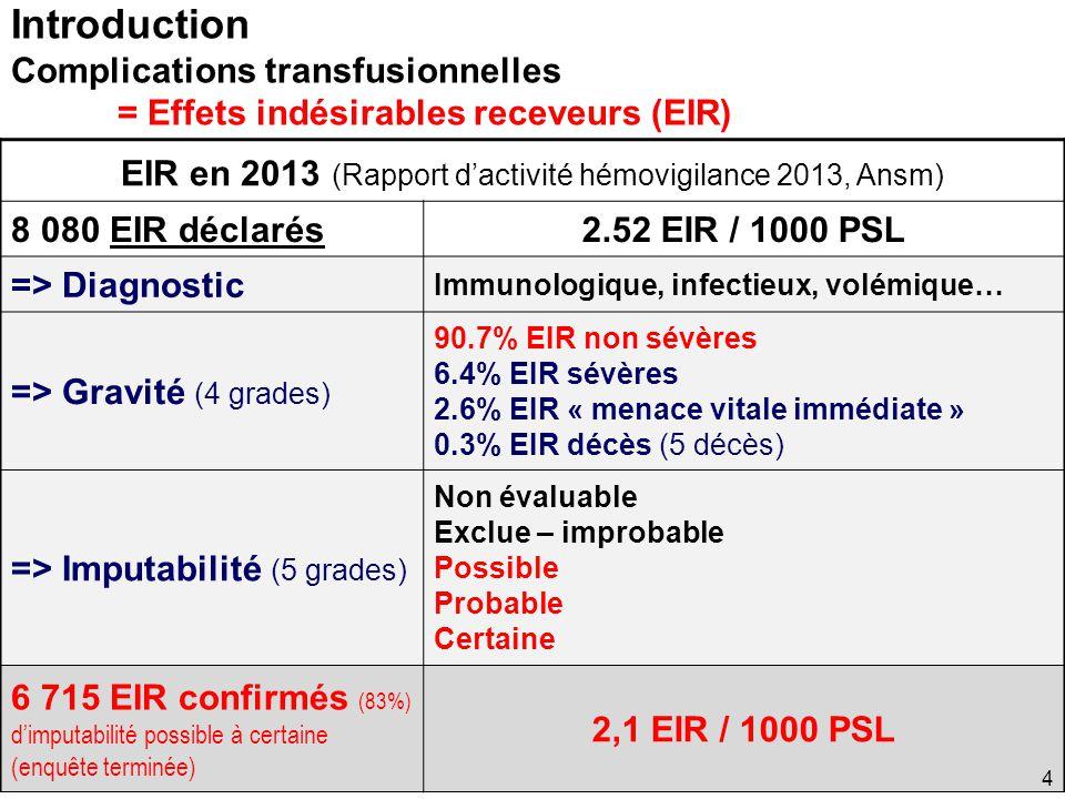 EIR en 2013 (Rapport d'activité hémovigilance 2013, Ansm)
