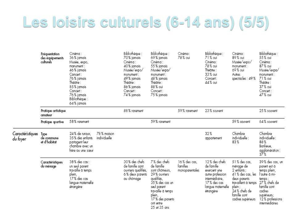 Les loisirs culturels (6-14 ans) (5/5)