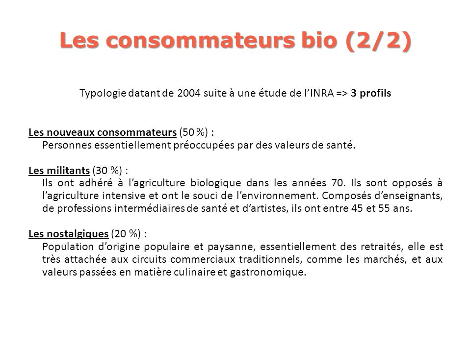 Les consommateurs bio (2/2)