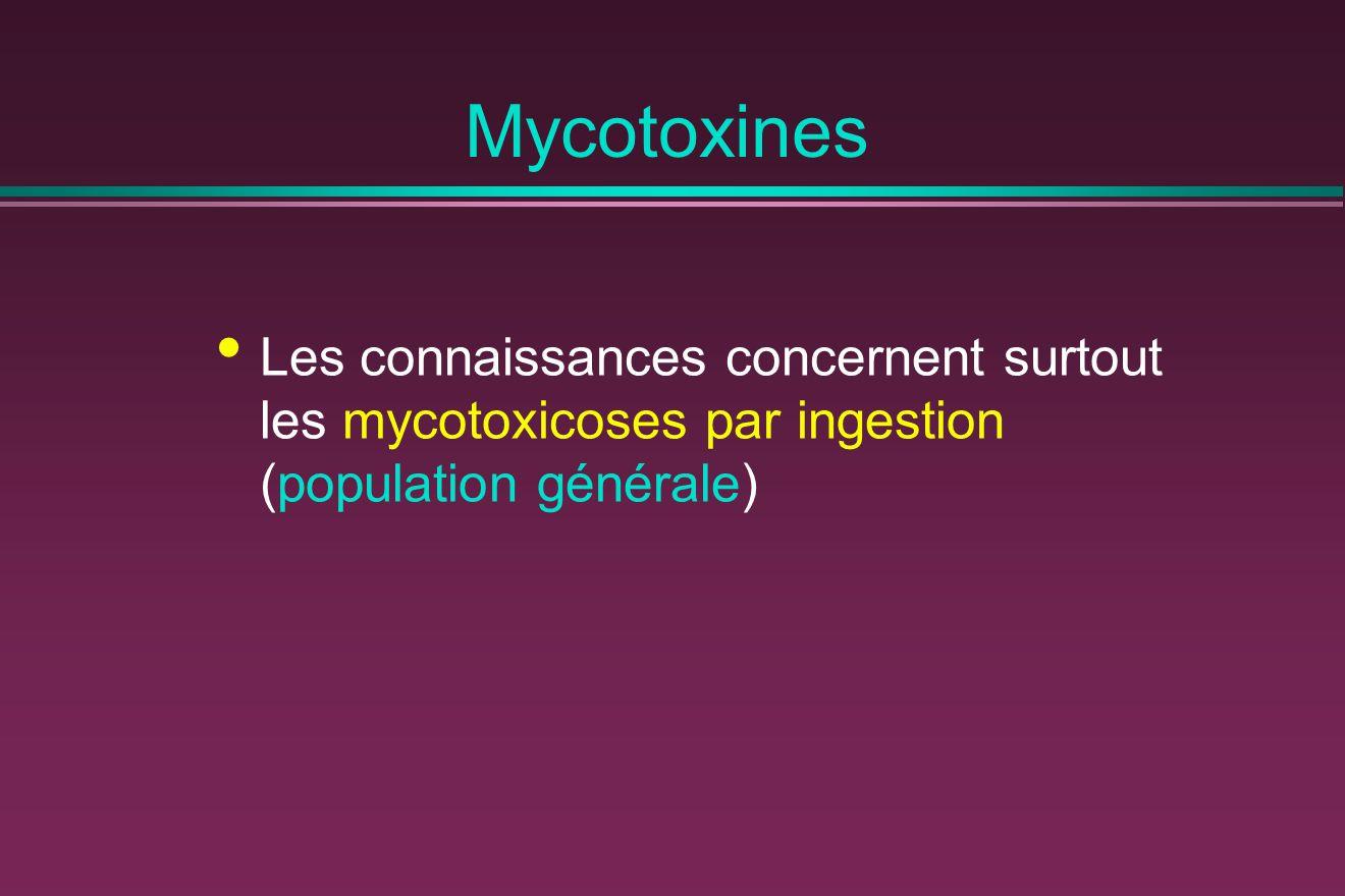 Mycotoxines Les connaissances concernent surtout les mycotoxicoses par ingestion (population générale)