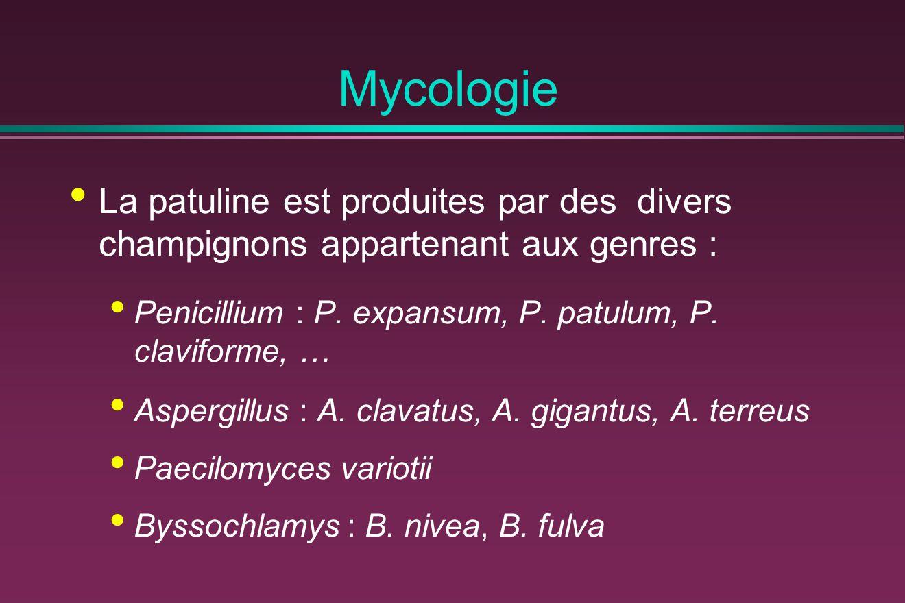 Mycologie La patuline est produites par des divers champignons appartenant aux genres : Penicillium : P. expansum, P. patulum, P. claviforme, …