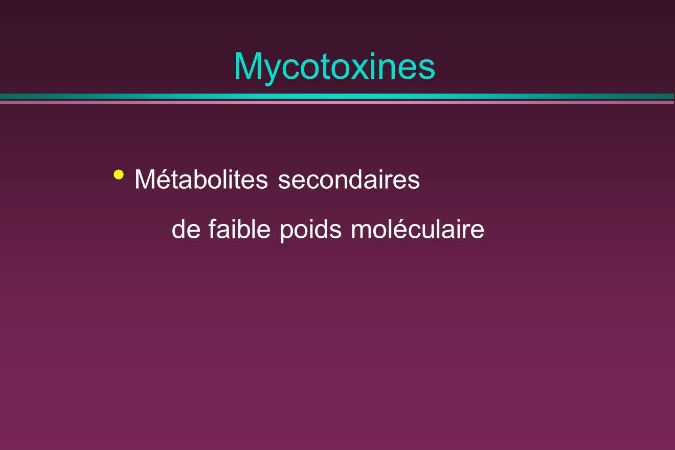 Mycotoxines Métabolites secondaires de faible poids moléculaire