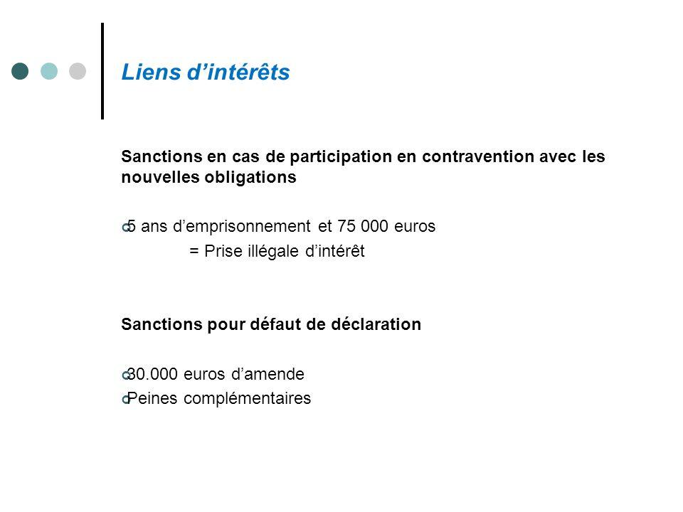 Liens d'intérêts Sanctions en cas de participation en contravention avec les nouvelles obligations.