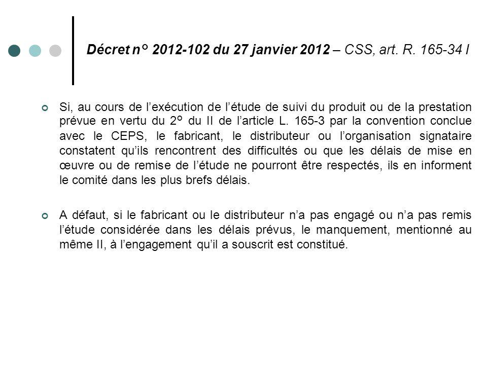 Décret n° 2012-102 du 27 janvier 2012 – CSS, art. R. 165-34 I