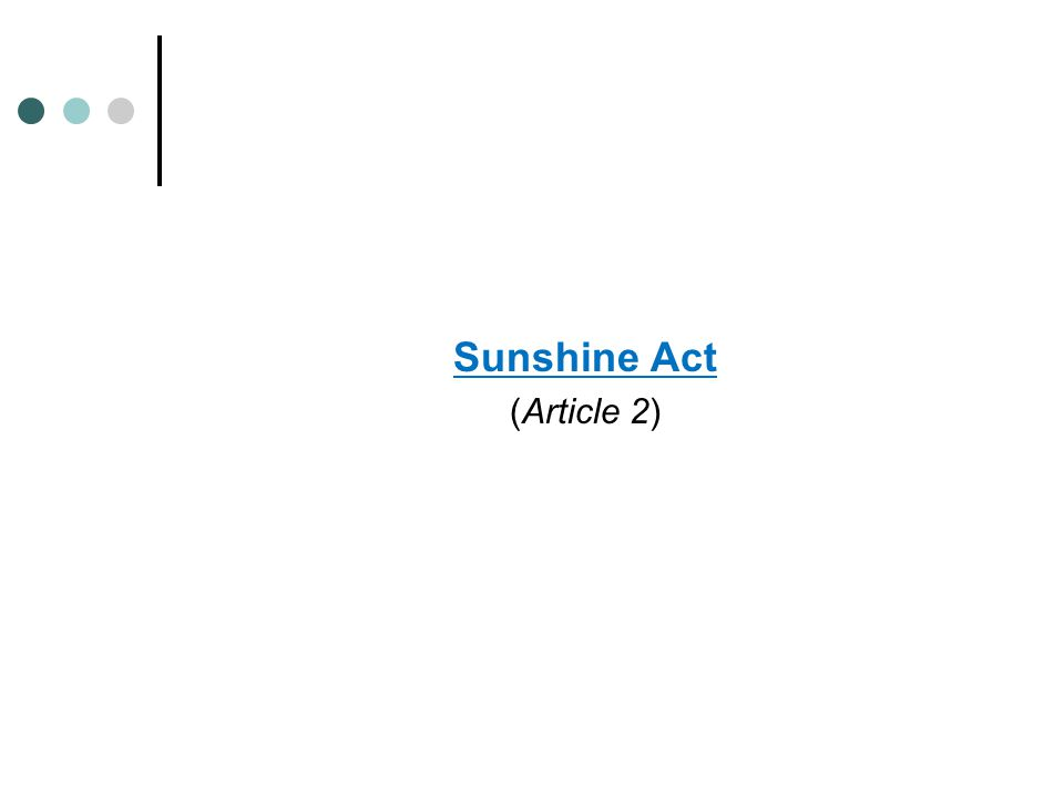 Sunshine Act (Article 2)
