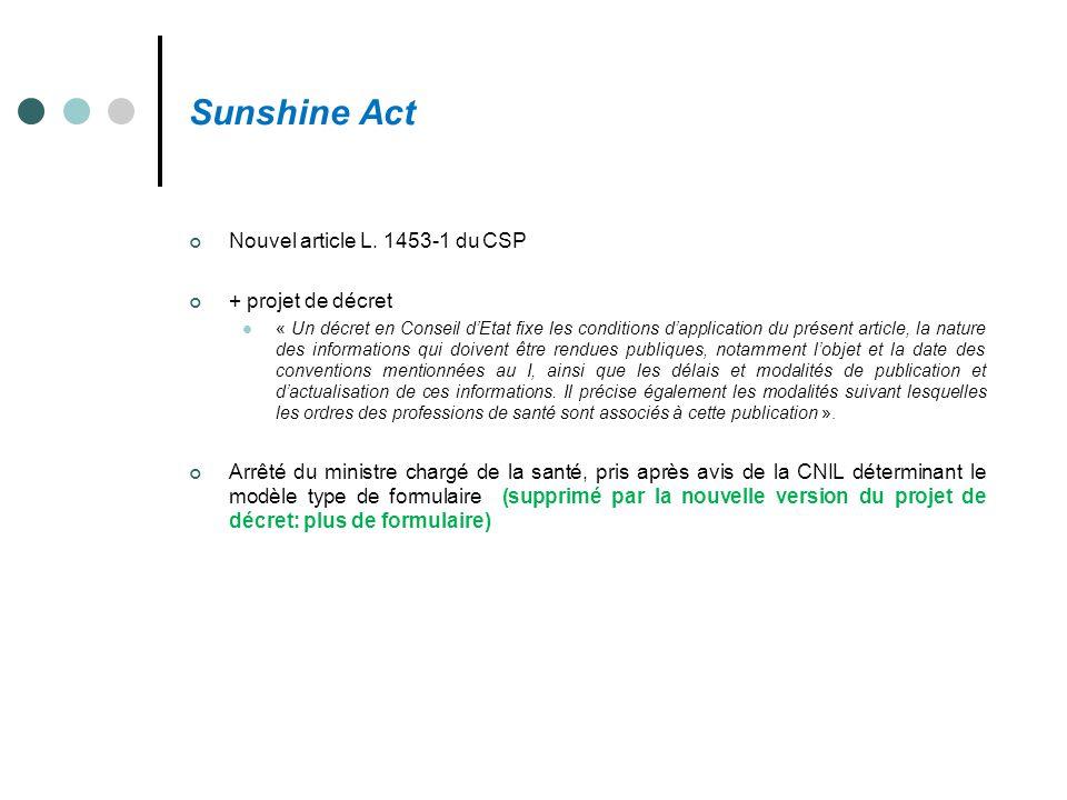 Sunshine Act Nouvel article L. 1453-1 du CSP + projet de décret