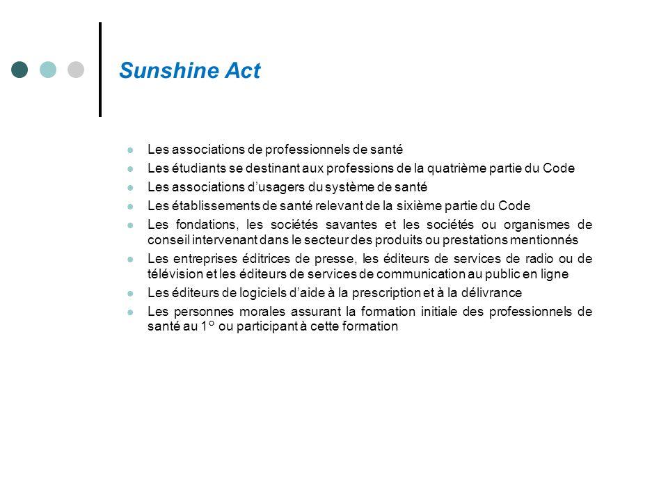 Sunshine Act Les associations de professionnels de santé