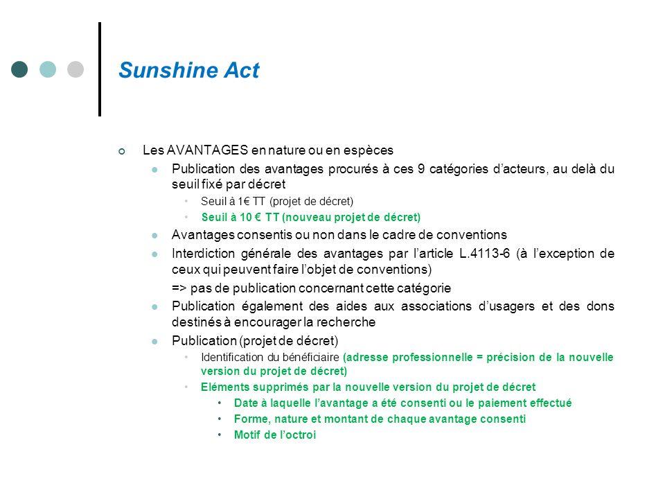 Sunshine Act Les AVANTAGES en nature ou en espèces