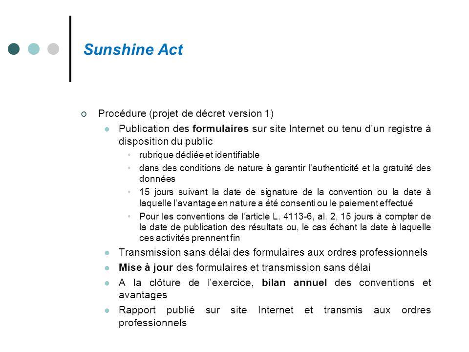Sunshine Act Procédure (projet de décret version 1)