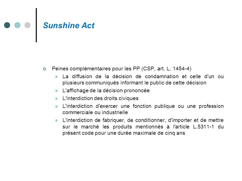 Sunshine Act Peines complémentaires pour les PP (CSP, art. L. 1454-4)
