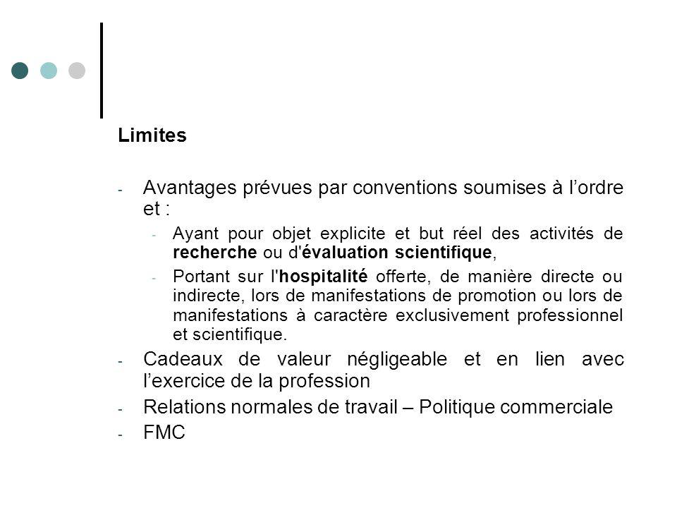 Avantages prévues par conventions soumises à l'ordre et :