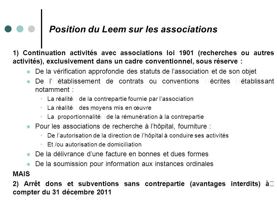 Position du Leem sur les associations