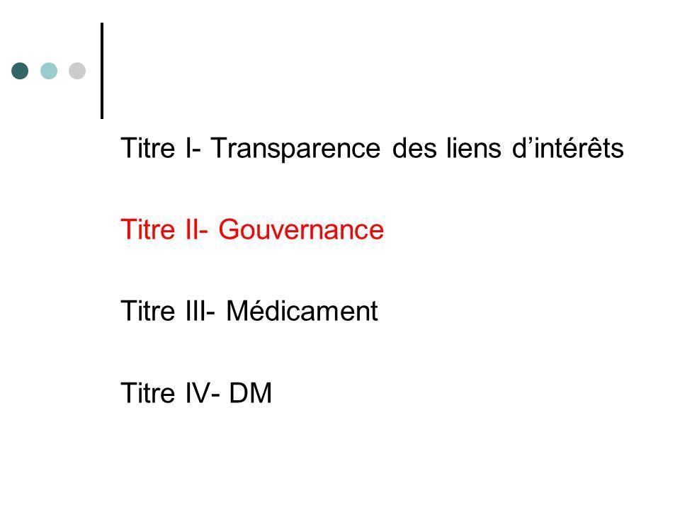 Titre I- Transparence des liens d'intérêts