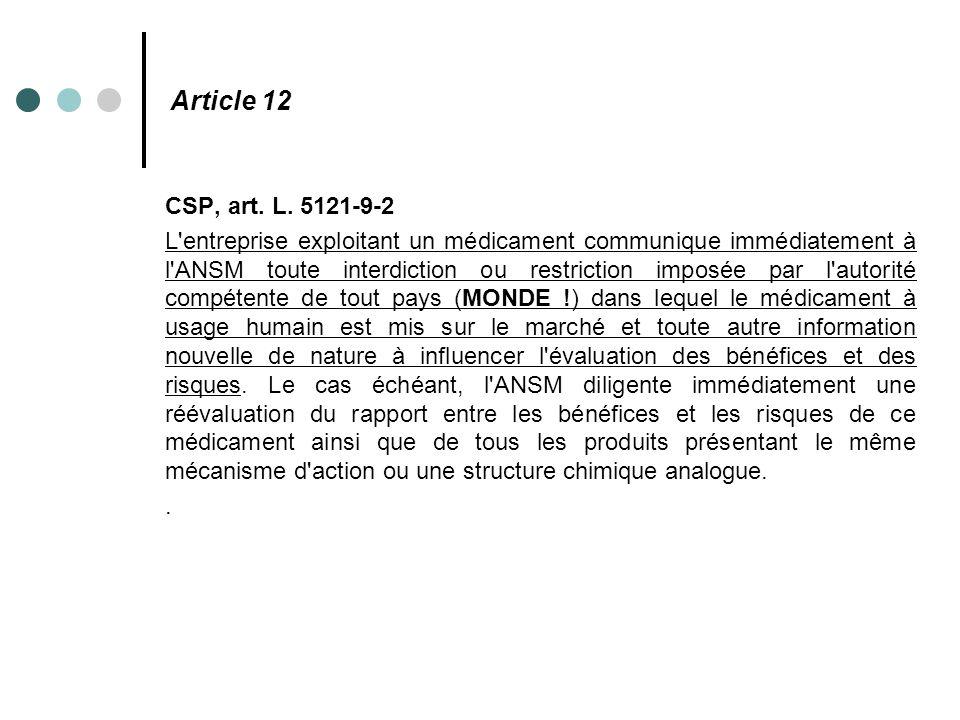 Article 12 CSP, art. L. 5121-9-2.