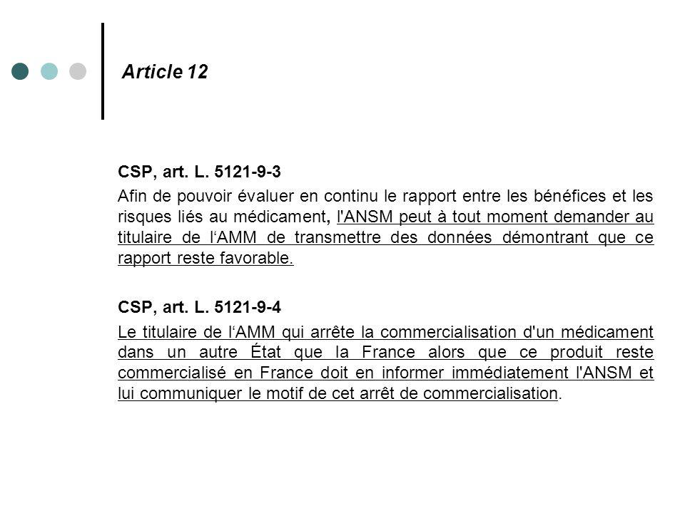 Article 12 CSP, art. L. 5121-9-3.