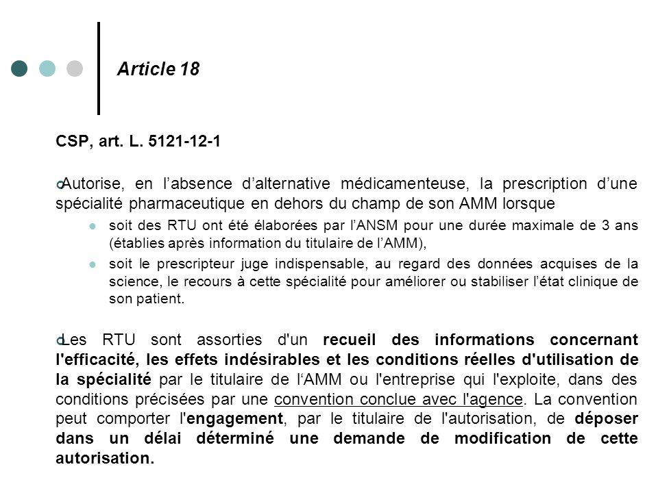 Article 18 CSP, art. L. 5121-12-1.