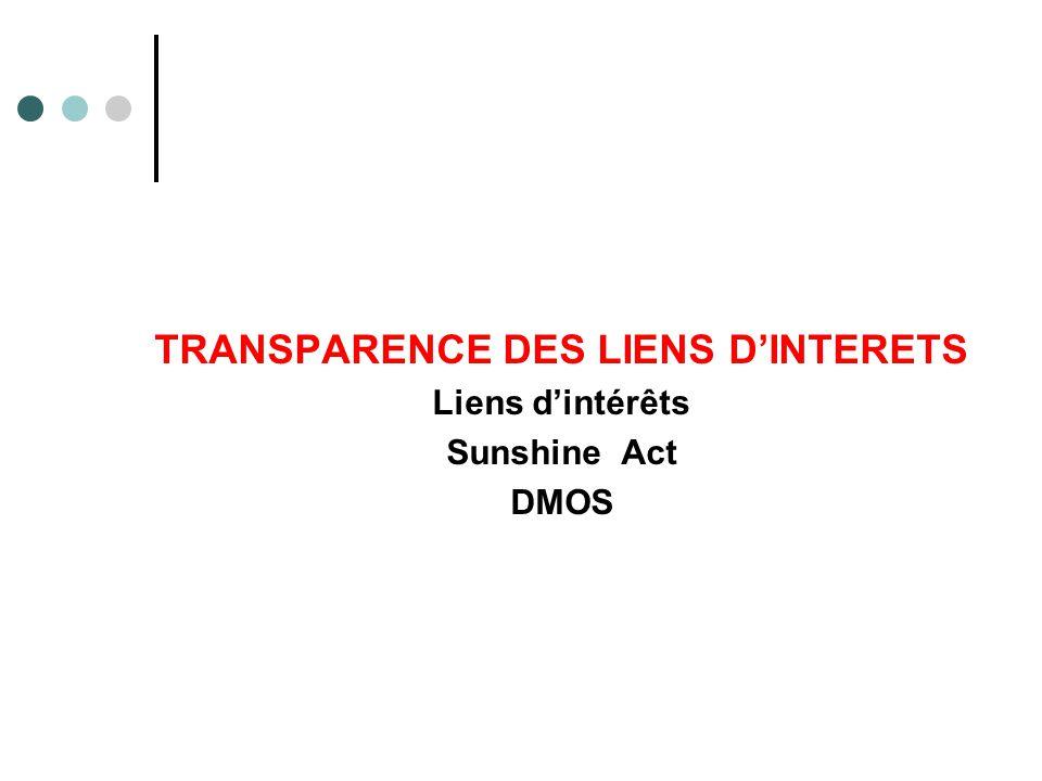 TRANSPARENCE DES LIENS D'INTERETS