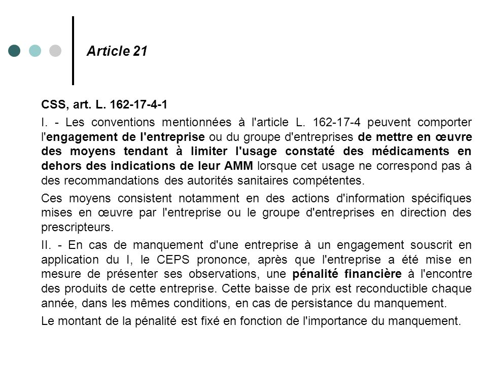 Article 21 CSS, art. L. 162-17-4-1.