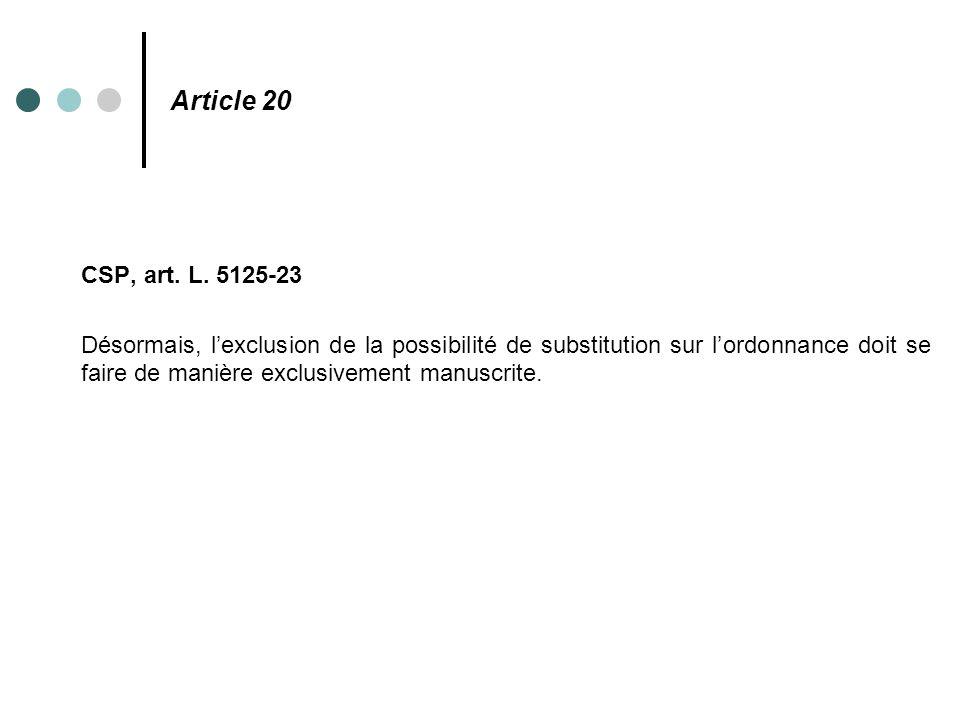 Article 20 CSP, art. L. 5125-23.