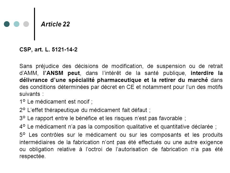 Article 22 CSP, art. L. 5121-14-2