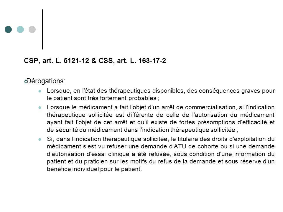 CSP, art. L. 5121-12 & CSS, art. L. 163-17-2 Dérogations: