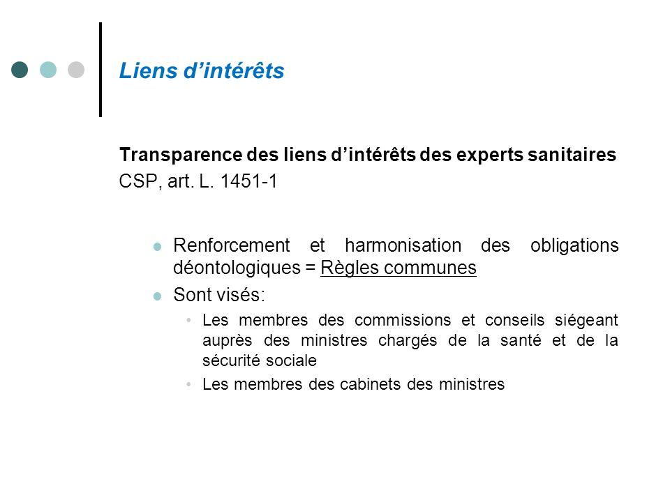 Liens d'intérêts Transparence des liens d'intérêts des experts sanitaires. CSP, art. L. 1451-1.