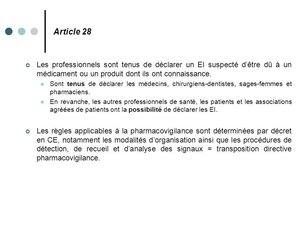 Article 28 Les professionnels sont tenus de déclarer un EI suspecté d'être dû à un médicament ou un produit dont ils ont connaissance.
