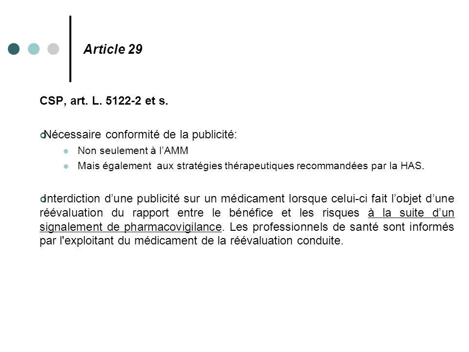 Article 29 CSP, art. L. 5122-2 et s. Nécessaire conformité de la publicité: Non seulement à l'AMM.