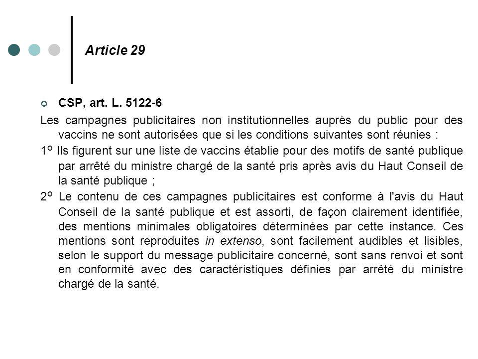 Article 29 CSP, art. L. 5122-6.