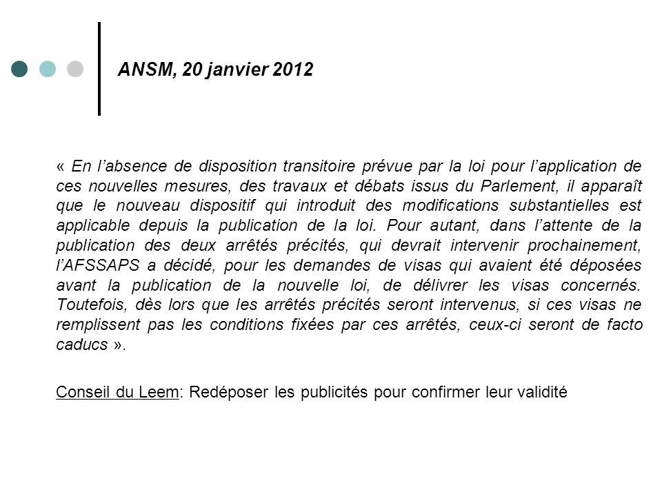 ANSM, 20 janvier 2012
