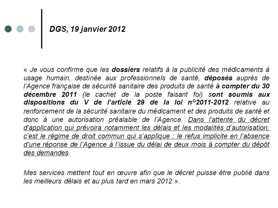 DGS, 19 janvier 2012