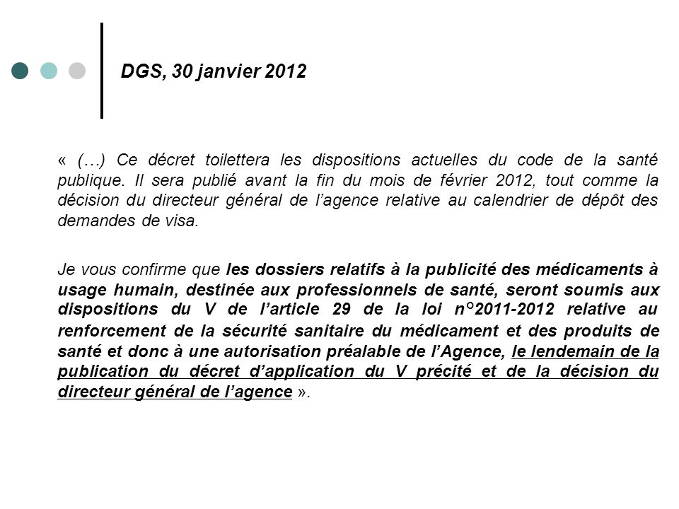 DGS, 30 janvier 2012