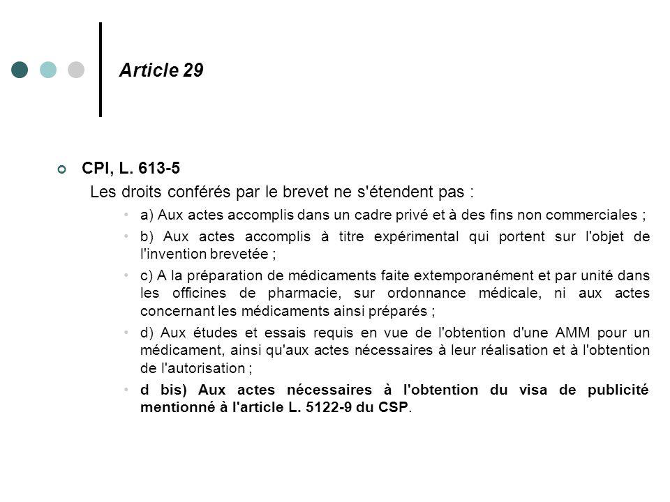 Article 29 CPI, L. 613-5. Les droits conférés par le brevet ne s étendent pas :